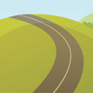 Illustrated grassy hill and road