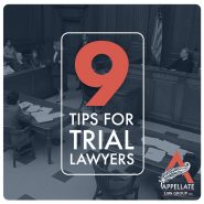 9 tips for Trial Lawyers blog graphic